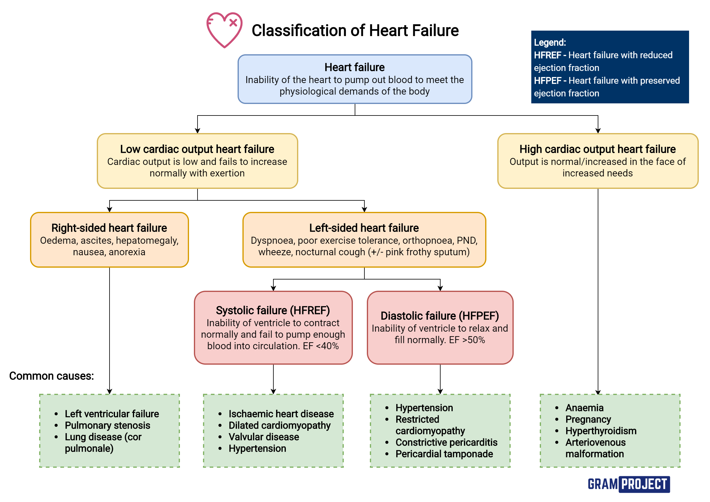 Summary of types of heart failures and their causes.
