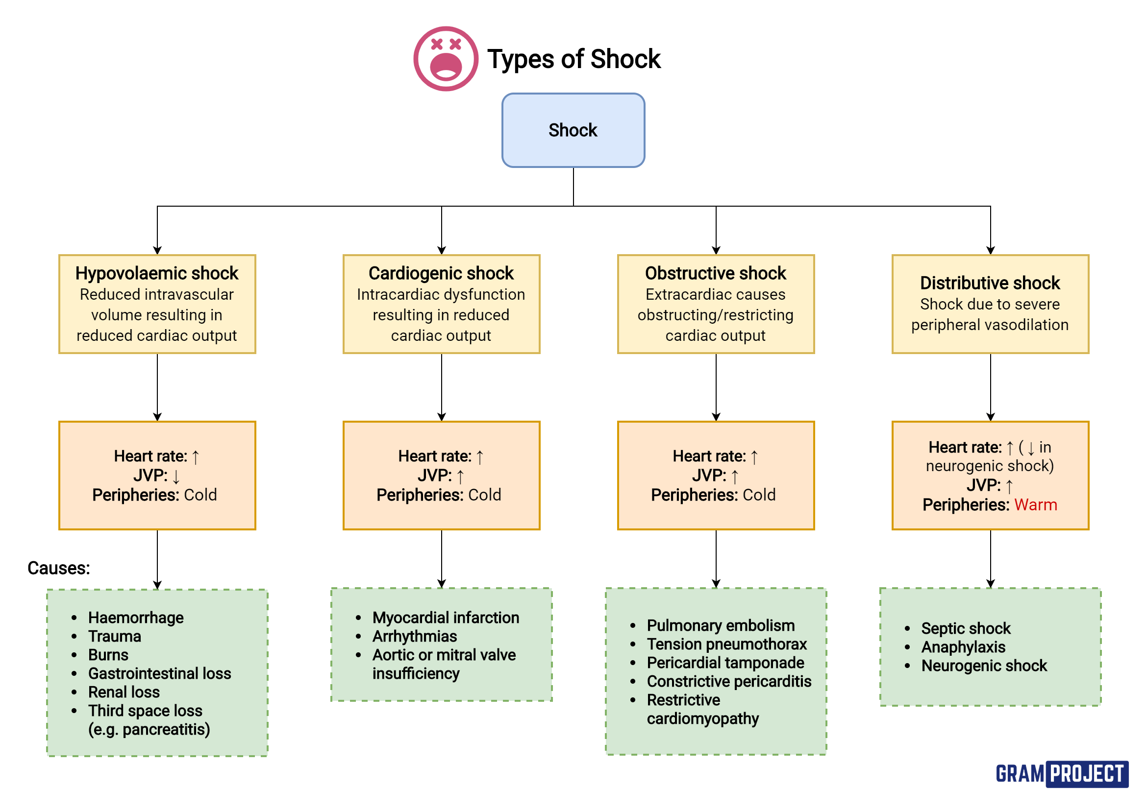 Types of shock and their respective clinical findings and causes.